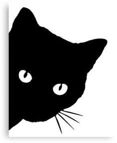 'Peeking Cat' Canvas Print by AnoeticDuckling Black Cat Drawing, Black Cat Painting, Cat Quilt Patterns, Art Carte, Canvas Art, Canvas Prints, Cat Silhouette, Cat Crafts, Cat Pattern