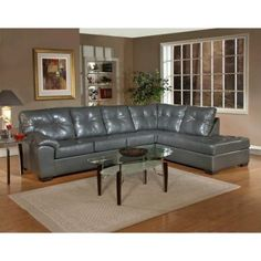 K&B Furniture Leather Sectional - Graphite
