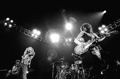L to R John Paul Jones, Robert Plant, John Bonham, Jimmy Page, 1975, location unknown