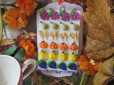 Harvest Day  Royal Icing Decorated Sugar Cubes by SweetSpecialties, $14.00