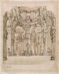 """""""Camera"""", studio per scenografia con salone, statua e sfingi, 1728 -1729 MIND BLOWN"""