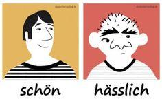 schön - hässlich - Adjektive - Gegensatzpaare