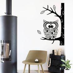 Wall Decals Cute Owl Bird Autumn Tree Leaves by DecalMyHappyShop