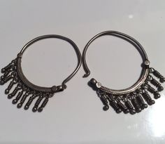 Antique Hoops,Kuchi Jewellery,Afghani Earring,Kuchi Earring,Yemeni Earring,Tribal,Statement,Ethnic,Middle Eastern,handmade,Vintage Earring by NajibJewellers on Etsy