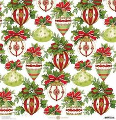 Anna Griffin - Yuletide Greetings Collection - Christmas - 12 x 12 Paper - Ornaments Miniature Christmas, Noel Christmas, Christmas Paper, Christmas Images, All Things Christmas, Christmas Cards, Christmas Background, Christmas Wallpaper, Paper Background
