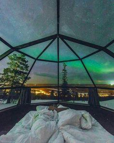 Falling asleep under the Northern lights. Levin Iglut, FInland