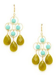 Gold, Glass, & Dyed Jade Chandelier Earrings by David Aubrey on Gilt.com  45