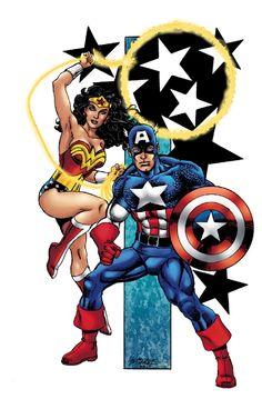 Wonder Woman / Captain America - George Perez / Tom Smith Comic Art