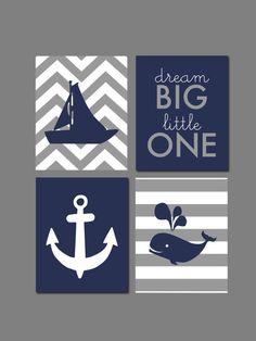 Whale Nursery Nautical Nursery Navy and Gray Dream by karimachal