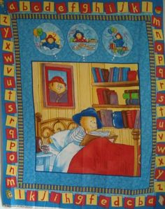 Paddington Bear ABC's Quilt Top Wall Hanging 50th Birthday Celebration Fabric Panel by Quilting Treasures
