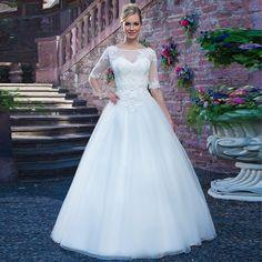 Elegant Vestido De Noiva Barato Half Sleeves Decoration Appliques A-Line Brautkleider 2015 Sweetheart Floor Length Wedding Dress