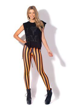 Beetlejuice Neon Orange Leggings by Black Milk Clothing