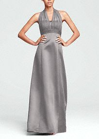 This satin ball gown has an illusion halter strap that is sexy and stylish.   The smooth skirt keeps the dress flattering and the silhouette smooth.  This dress does not need much jewelry to make it look special. It is unique all on its own.  Also available in extra length sizes.  Get inspired by our colors..     *SPECIAL VALUE! Was , Now !