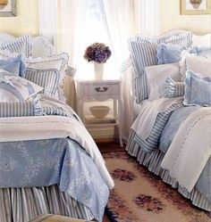 bedroom in blue and white...