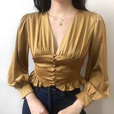 Lace single-breasted satin long-sleeved shirt · FE CLOTHING · Online Store Powered by Storenvy Classy Outfits, Casual Outfits, Cute Outfits, Myanmar Dress Design, Look Retro, Fashion Sewing, Outfit Goals, Looks Style, Fashion Details