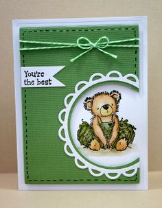 Coloring with Distress Markers Video - Tutu Bear Note Set Green by newkidfish (Cathy A), via Flickr