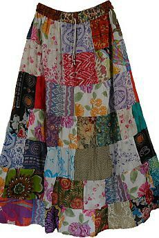 Pearl Hippy Cotton Long Skirt TLB (patchwork) Floral Long Cotton Summer Skirt - This is a pure cotton summer skirt with colorful floral patchwork Sewing Clothes, Diy Clothes, Skirt Outfits, Dress Skirt, Peasant Skirt, Dress Shoes, Shoes Heels, Boho Fashion, Fashion Dresses