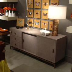 Alexander media cabinet linen covered with brass accent from studio a suite 232