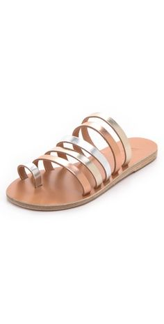 Ancient Greek Sandals Niki Metallic Strappy Slides | SHOPBOP