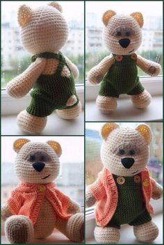 Mis Pasatiempos Amo el Crochet: Patrones crochet bebé Amigurumi Tutorial, Amigurumi Patterns, Crochet Patterns, Crochet Bebe, Crochet Toys, Pug, Baby Rattle, Bear Toy, Panda