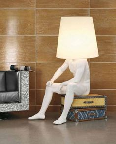 Home-Design-Improvement-with-Floor-Lamp-Ideas. Guy statue as a lamp Weird Furniture, Unique Furniture, Furniture Ideas, Furniture Update, Furniture Websites, Furniture Dolly, Furniture Online, Living Furniture, Plywood Furniture