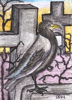 The Raven Original  Created 8/2015 Mixed Media, Watercolor & Ink ACEO  (Art Card Editions and Originals) Originals are 2.5 x 3.5 inches   SALE $7