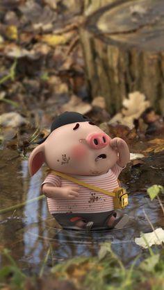 Pig Wallpaper, Cute Girl Wallpaper, Pig Family, Cute Piglets, Pig Illustration, Cute Cartoon Girl, Funny Pigs, Cute Love Memes, Mini Pigs
