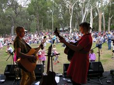 Local favourites, The Cashews, live on stage at Summer Sounds at the Australian National Botanic Gardens.