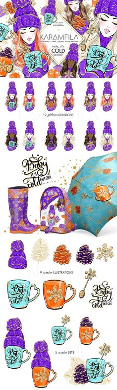 Cute winter clipart in purple, orange, teal and gold glitter - for stickers, scrapbook paper, fabric printing, mugs, wall art, etc