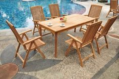 """New 9 Pc Luxurious Grade-A Teak Dining Set - 71"""" Rectangle Table And 8 Reclining Arm Chairs [Model:MRa] by WholesaleTeak. $1649.99. Chairs folds for easy storage. Dimension: 22"""" Width x 23"""" Depth x 42"""" Height.. Rectangle Table has 2"""" umbrella hole in the center. Table Dimension: 71"""" L, 36"""" W , 30"""" H. ADD SUNBRELLA FABRIC CUSHIONS BY SEARCHING """"Wholesaleteak Dining Cushion"""" ON AMAZON, CUSTOM MADE FOR THESE STYLE CHAIRS. Picture shown with 6 chairs, but you will receive 8 chairs..."""