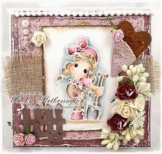 Tilda card by LLC DT Member Becky Hetherington, using papers from Maja Design's Vintage Autumn Basics collection.