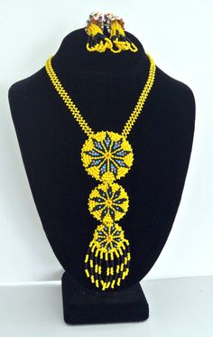 SOLD---Vintage American Indian Beaded Necklace And Earring Set  $95.00