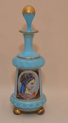 """Opaline blue perfume bottle with hand painted portrait, 8 7/8""""h"""