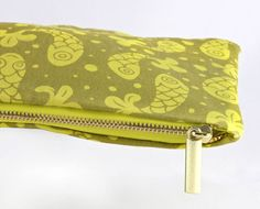 Bubble Fish Zipper Cosmetic Makeup Pouch in Mustard by MinaMiyaki