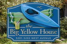 The Big Yellow House Sign / Danthonia Designs Beach House Signs, Home Signs, Cottage Names, Property Signs, Big Yellow, Yellow Houses, Hand Painted, Painted Wood, Vacation