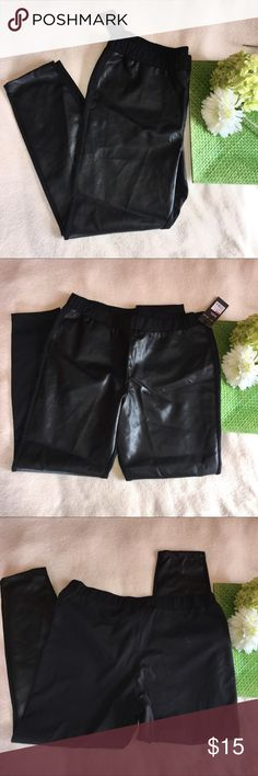 """NWT faux leather front leggings Waist: 17.5"""" 