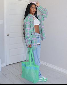 Baddie Outfits Casual, Plaid Outfits, Cute Swag Outfits, Pretty Outfits, Stylish Outfits, Girl Outfits, Fashion Outfits, Mode Streetwear, Streetwear Fashion