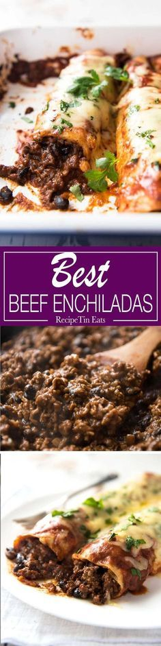 Beef Enchiladas I doubled this recipe and my family of 5 devoured it! Massive hit, will make again and again. That beef filling – best I've ever had. Best Beef Enchilada Recipe, Homemade Enchilada Sauce, Homemade Enchiladas, Homemade Sauce, Beef Burrito Recipe, Mexican Enchiladas, Ground Beef Enchiladas, Turkey Enchiladas, Homemade Taco Seasoning