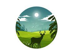 Nature & deer illustration