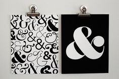 Pair of Ampersand Art Prints - Black & White