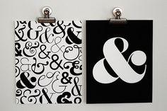 Pair of Ampersand Art Prints - Black & White