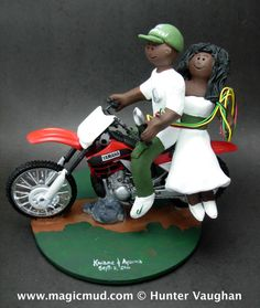 African American Motorcycle Wedding Cake Topper KTM, Honda, Suzuki,Yamaha, Kawasaki….any model of dirt bike can be incorporated into your off road motorcycle wedding cake topper, custom created just for your wedding $235 #magicmud 1 800 231 9814 www.magicmud.com