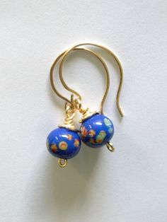 Cobalt blue Millefiori earrings  Vintage $20.00