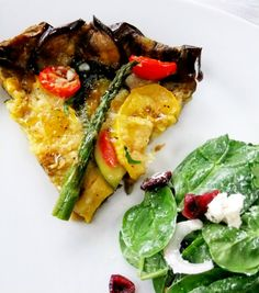 Here's an all vegetable tart with an extra healthy spin on a it because there's no pastry involved when putting it together!  Thick sturdy slices of roasted eggplant form the perfect crust to encase all your vegetables, it's healthy, much lighter and very pretty in it's presentation.  Simple to do with just a little prep …