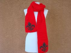NEW! Fleur De Lis Scarf - Red Scarf for Men - Red and Grey Scarf - Gray Fleur-De-Lis - Crochet Scarves - Warm Scarf - Long Scarf - Unisex by HoookedHandmade