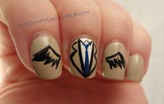 What??? Castiel Nail Art!!!! #Supernatural #Castiel #NailArt via: A Study In Polish I painted these on a Thursday!