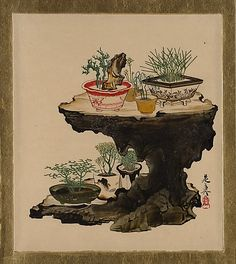 Lacquer Paintings of Various Subjects: Bonsai Shibata Zeshin (Japanese, 1807–1891) Period: Meiji period (1868–1912) Date: 1882 Culture: Japan Medium: Lacquer on paper