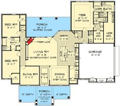 Plan W55137BR: Love floor plan not exterior. would add door going to outside by back br and take out door to br fr bath . also chg master ba