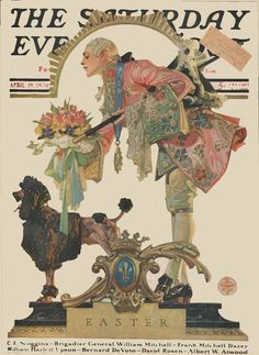 Saturday Evening Post April 19, 1930. Love the dandy offering flowers to the not-having-any-of- it poodle J C Leyendecker illustrator