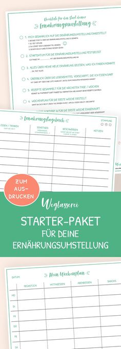 The free starter pack for a simple diet change. With checklist, template a food diary and weekly pla Vegan Meal Plans, Food Intolerance, Easy Diets, How To Wake Up Early, Food Diary, Plant Based Recipes, Stay Fit, Healthy Life, Healthy Food